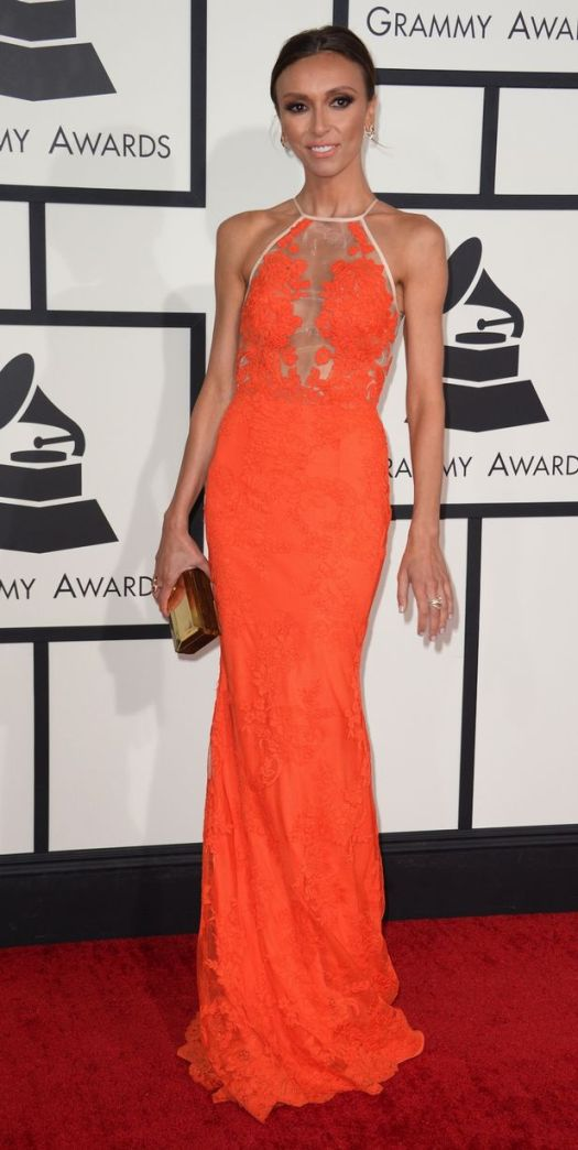 Giuliana Rancic Grammy Awards 2014 Style StyleChi  Sheer Panel White Contrast Trim Sheer Panel Red Floral Lace Dress