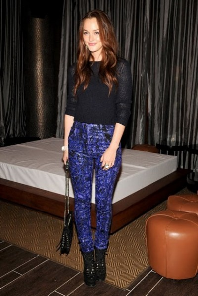 Leighton Meester Black Knitted Cropped Sweater Graphic Skinny Blue Purple Trousers Lace Up Heeled Boots Chain Bag