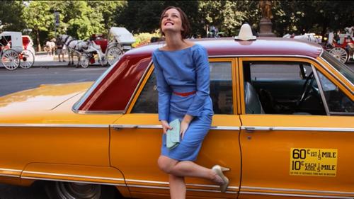 Leighton Meester Blair Waldorf StyleChi Blue Long Sleeved Dress Red Belt Gold Heels Clutch