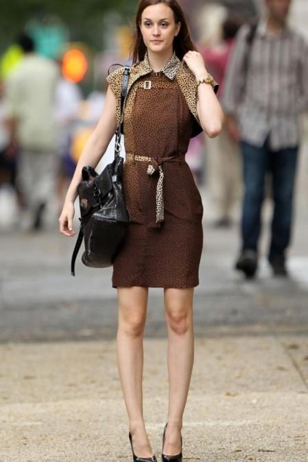 Leighton Meester Blair Waldorf StyleChi Leopard Gucci Dress