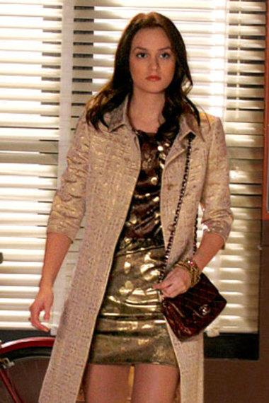 Leighton Meester Blair Waldorf StyleChi Long Shiny Coat Metallic Gold Dress Brown Chanel Bag