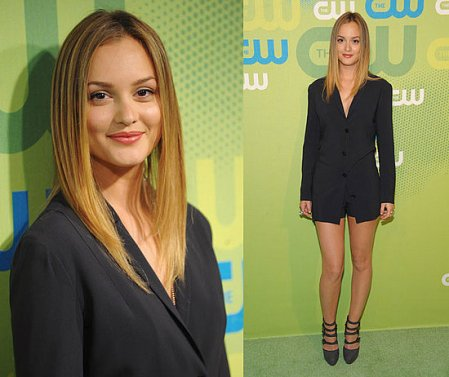 Leighton Meester StyleChi 2010 Suit Outfit Shorts Black Strappy Heels Blonde Hair