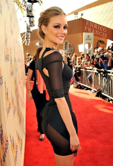 Leighton Meester StyleChi Black Mini Sheer Panel Cut Out Dress Red Carpet Updo