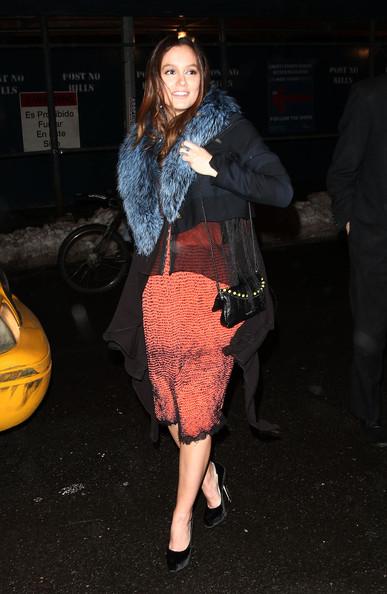 Leighton Meester StyleChi Blue Fur Collar Orange Dress Velvet Black Heels