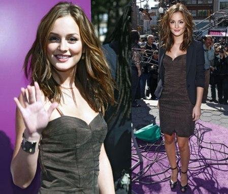 Leighton Meester StyleChi Brown Soft Dress Navy Blazer Peep Toe Heels