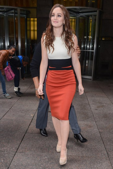 Leighton Meester StyleChi Colour Block Sleeveless Dress Cream Black Red Nude Suede Heels