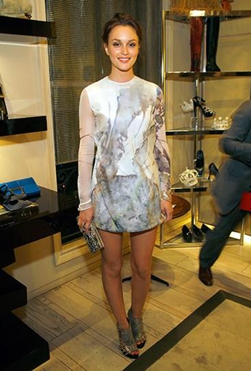 Leighton Meester StyleChi Cream White Patterned Long Sleeved Mini Dress Peep Toe Heels Clutch Bag