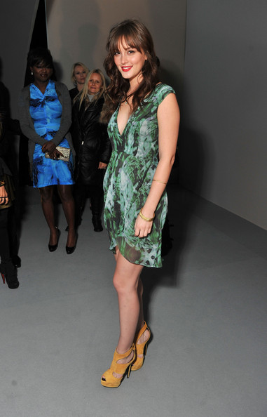 Leighton Meester StyleChi Green V-Neck Patterned Dress Yellow Suede Platform Cut Out Heels