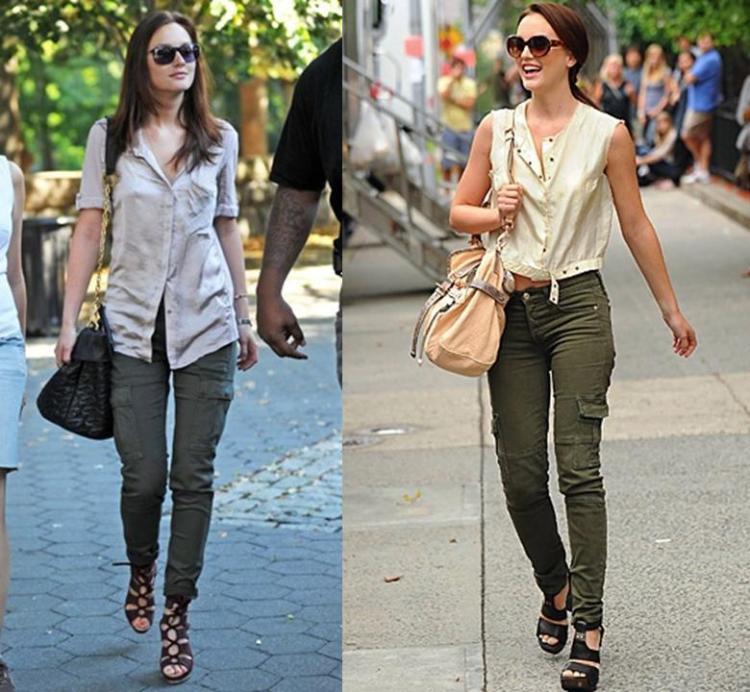 Leighton Meester StyleChi Khaki Green Cargo Skinny Jeans Sunglasses Cream Top Heeled Sandals