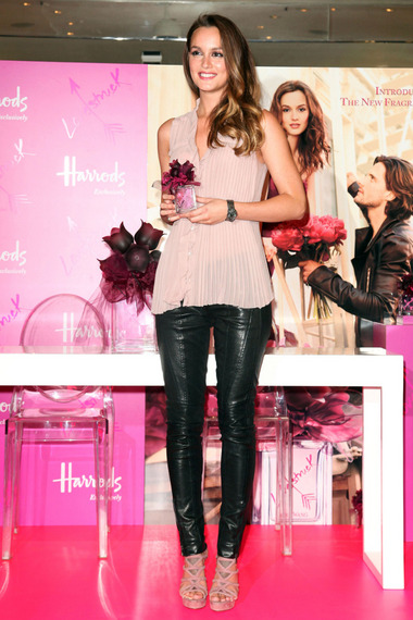 Leighton Meester StyleChi Light Pink Pleated Top Strappy Heels Black Leather Trousers