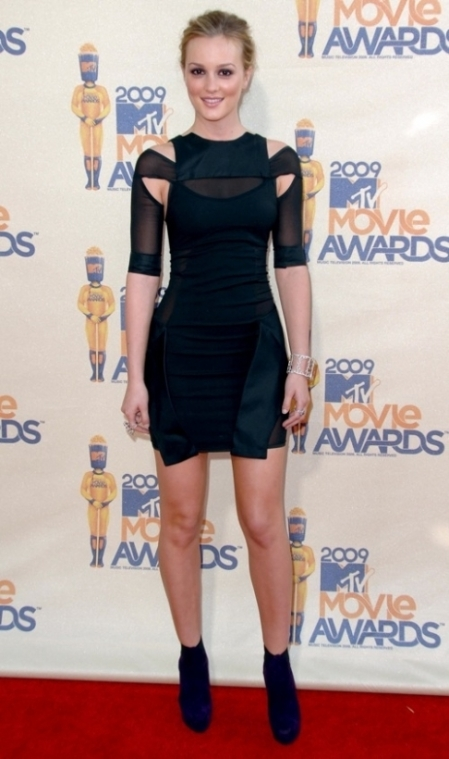 Leighton Meester StyleChi Red Carpet Black Cut Out Sheer Panel Dress Updo