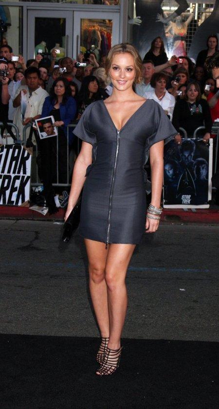 Leighton Meester StyleChi Short Sleeved Blue Gray Mini Zip Up Dress