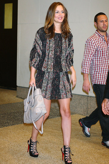 Leighton Meester StyleChi Sleeved Dress Cream Bag Lace Up Sandals