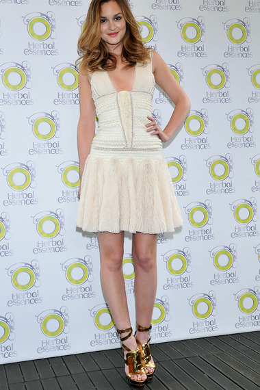 Leighton Meester StyleChi White Embellished Drop Waist Dress Plunging V-Neck Gold Shoes