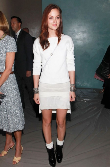 Leighton Meester StyleChi White Outfit Long Sleeve Sweater Skirt Socks Black Boots