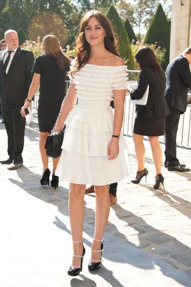Leighton Meester StyleChi White Ruffle Dress Black Heels