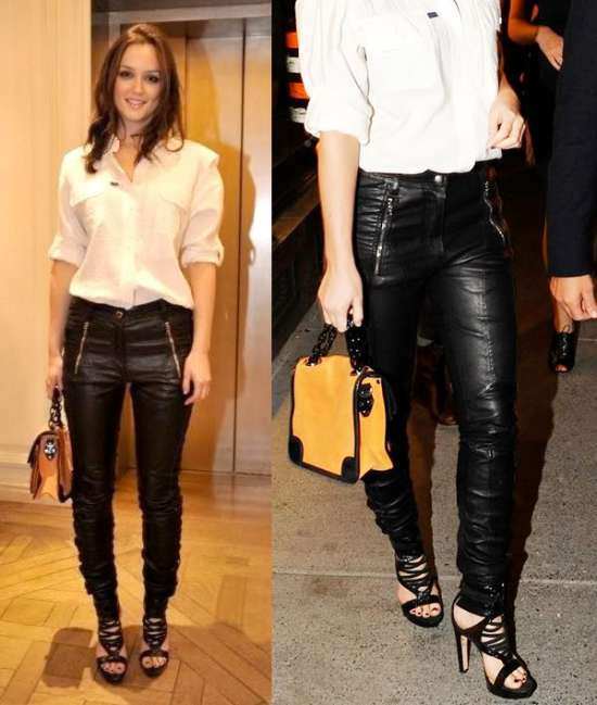 Leighton Meester StyleChi White Shirt Black Zip Leather Trousers Strappy Sandals Yellow Handbag