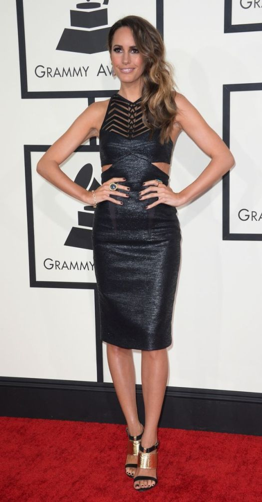 Louise Roe Grammy Awards 2014 Style StyleChi Black Dominatrix Sheer Panel Cut Out Midi Length Dress Metallic Barely There Heels