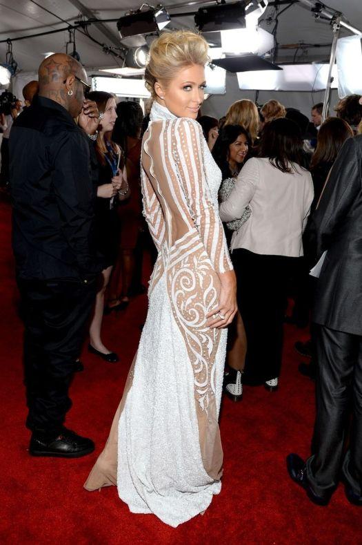 Paris Hilton Grammy Awards Style 2014 StyleChi White High Neck Sheer Panel Glitzy Revealing Dress