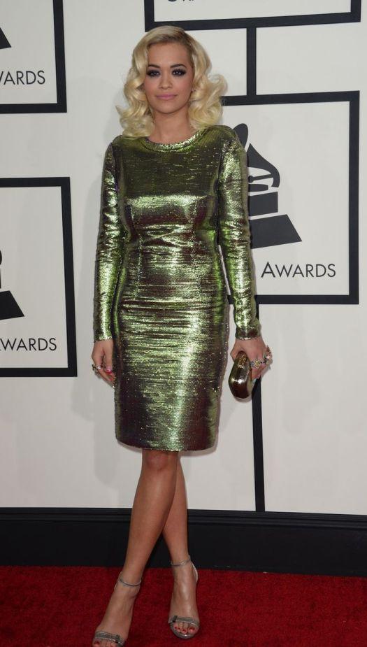 Rita Ora Grammy Awards Style 2014 StyleChi Green Metallic Long Sleeve Dress