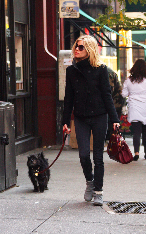 Sienna Miller Casual StyleChi Sunglasses Oxblood Bag Navy Military Style Kacket Skinny Jeans Grey Fur Lined Ankle Boots Walking Dog