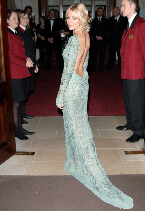 Sienna Miller StyleChi Aqua Blue Green Embellished Backless Long Sleeve Gown