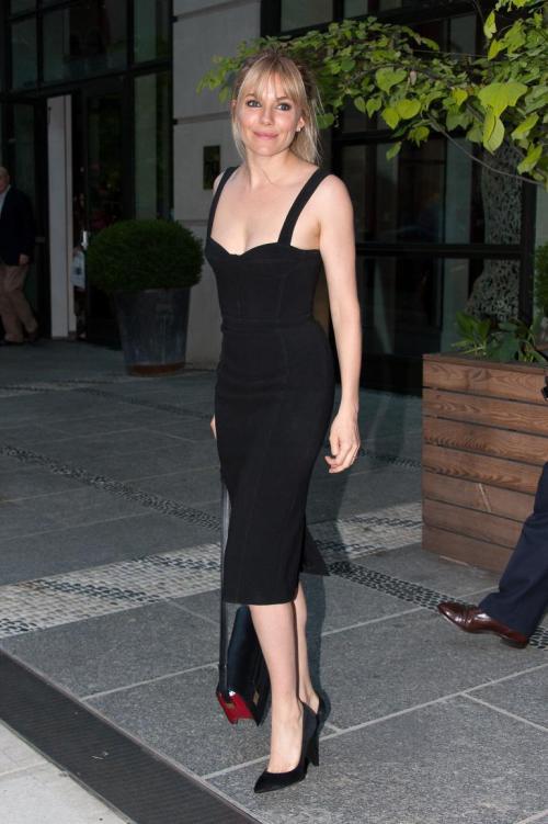 Sienna Miller StyleChi Black Heart Neckline Wide Strap Bodycon Below The Knee Dress Pointed Heels Satchel Bag