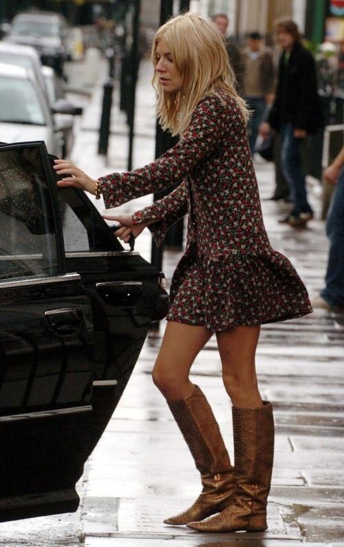 Sienna Miller StyleChi Black Red Pink Floral Long Sleeved Drop Waist Mini Dress Bronze Brown Croc Flat Boots