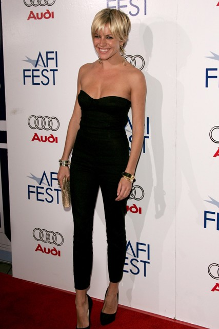 Sienna Miller StyleChi Black Strapless Skinny Playsuit Pointed Heels Short Hair
