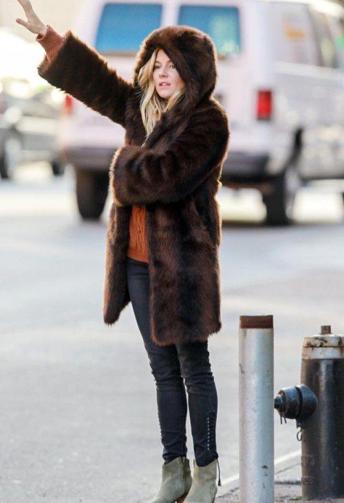 Sienna Miller StyleChi Brown Hooded Long Fur Coat Orange Knit Black Denim Beige Suede Ankle Boots Hailing Cab