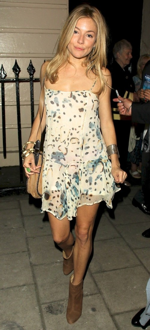 Sienna Miller StyleChi Casual Floral Drop Waist Thin Strap Dress Brown Suede Ankle Boots Cross Body Bag