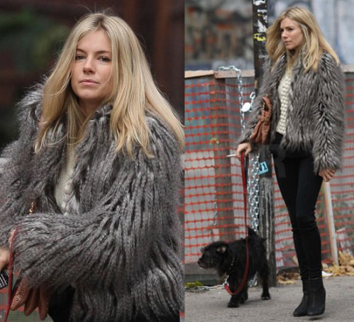 Sienna Miller StyleChi Casual Fuzzy Grey Jacket White Knit Black Skinny Jeans Black Suede Ankle Boots Walking Dog