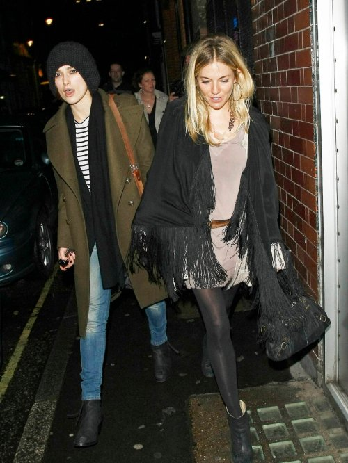 Sienna Miller StyleChi Casual Keira Knightley Black Fringer Stole Grey Drop Waist Belted Mini Dress Black Boots Bag Gold Hoop Earrings