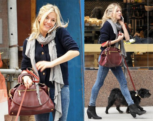 Sienna Miller StyleChi Casual Navy Blue Cardigan Gold Buttons Blue Acid Wash Jeans Black Boots Grey Scarf Oxblood Bag Walking Dog