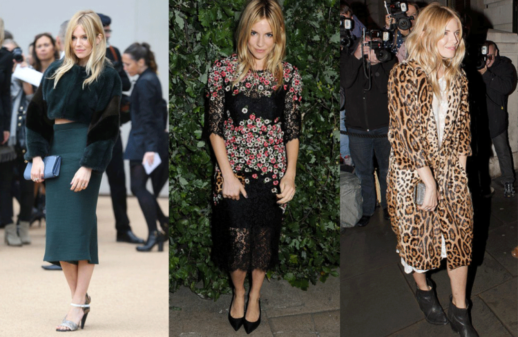 Sienna Miller StyleChi Cropped Green Fur Coat Textured Pencil Skirt Black Pink Lace Floral Dress Leopard Coat Outfits