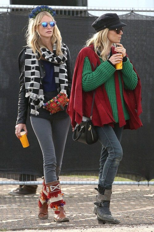 Sienna Miller StyleChi Festival Style Poppy Delevingne Green Heavy Knitted Sweater Cap Sunglasses Grey Skinny Jeans Black Studded Biker Boots Red Fringe Poncho