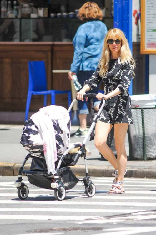 Sienna Miller StyleChi Floral Black Green White Three Quarter Sleeve Playsuit Sunglasses Sandals Pushing Pram