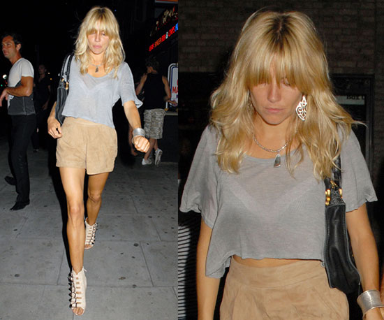 Sienna Miller StyleChi Grey Crop Top Suede Nude High Waist Shorts Cream Buckled Peep Toe Wedges Statement Earrings