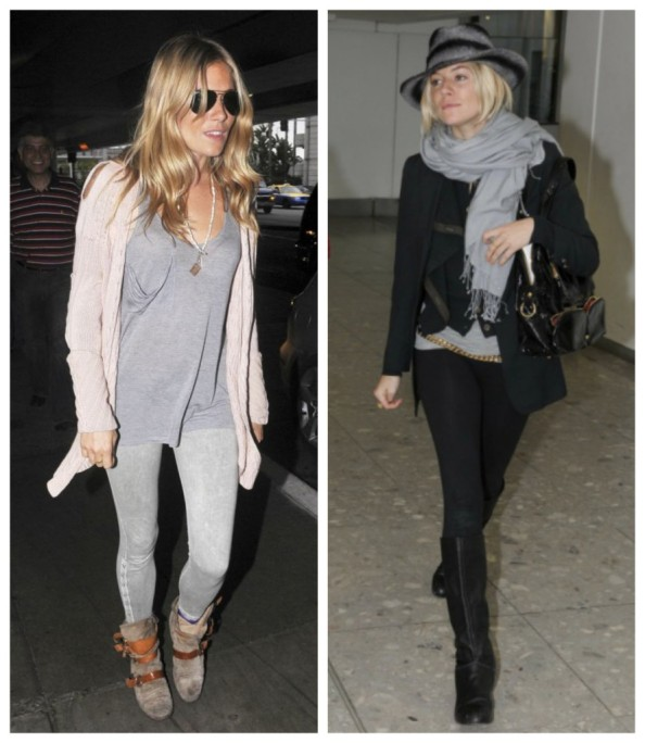 Sienna Miller StyleChi Grey Skinny Jeans Loose T-Shirt Cream Cardigan Beige Suede Boots Brown Straps Aviator Sunglasses Black Knee High Boots Leggings Grey Hat Long Blazer Scarf