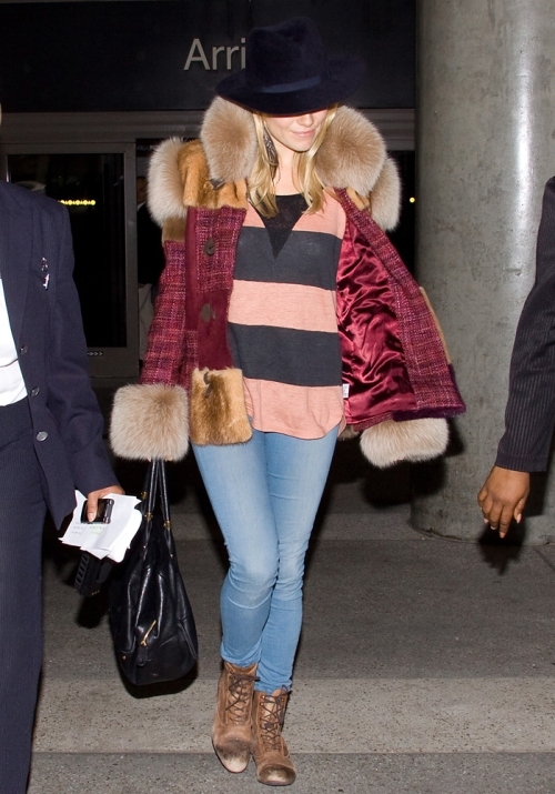 Sienna Miller StyleChi Light Blue Denim Skinny Jeans Brown Used Effect Lace Up Boots Coral Navy Striped T-Shirt Purple Pink Jacket Fur Trim Navy Hat