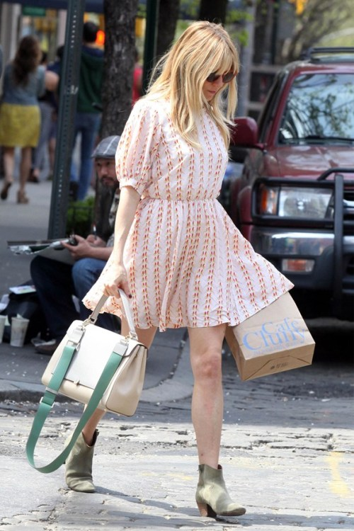 Sienna Miller StyleChi Light Pink Puff Mid Sleeves Patterned Cinched Waist Dress Cream Mint Green Satchell Beige Suede Boots
