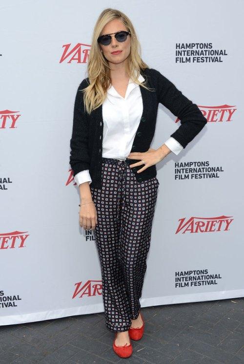 Sienna Miller StyleChi Navy Cardigan White Shirt  Navy Patterned Pyjama Style Bottoms Red Ballerina Flats Retro Sunglasses