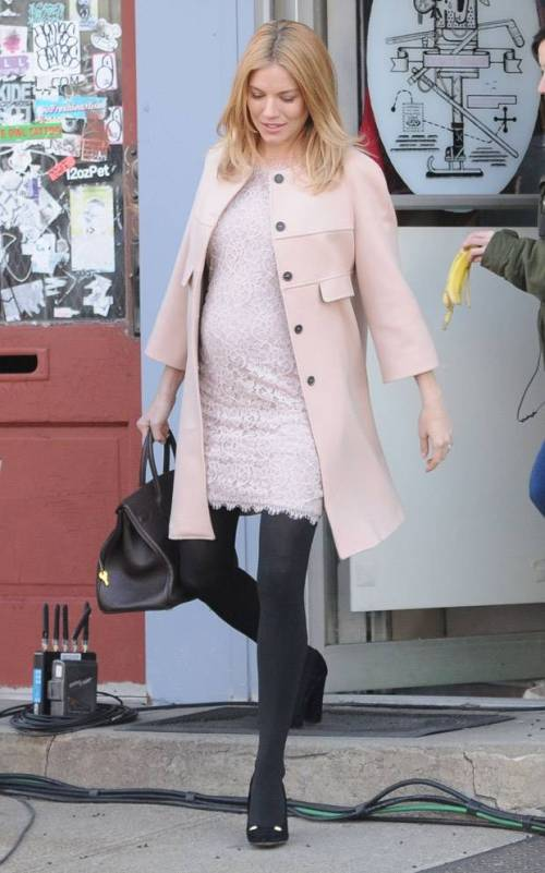 Sienna Miller StyleChi Pink Collarless Coat Lace Dress Black Heels Pregnant On Set