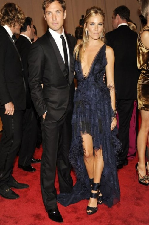 Sienna Miller StyleChi Red Carpet Navy Deep V-Neck Hi Lo Ruffle Lace Detail Dress Jude Law