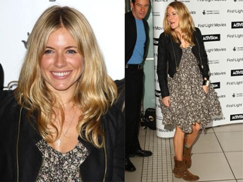 Sienna Miller StyleChi Ruffle Floral Dress Black Biker Jacket Brown Suede Boots