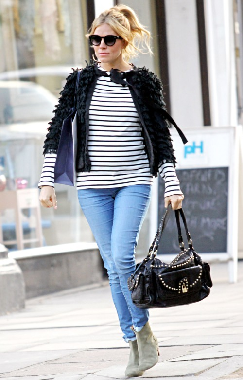 Sienna Miller StyleChi Sunglasses Casual Textured Fuzzy Black Jacket Striped White Top Blue Denim Skinny Jeans Beige Suede Heeled Boots Studded Bag