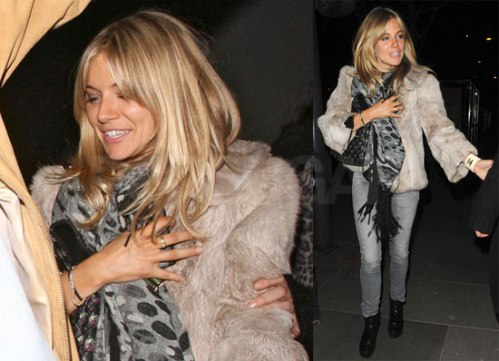 Sienna Miller StyleChi Taupe Fur Jacket Grey Scarf Skinny Jeans Black Boots
