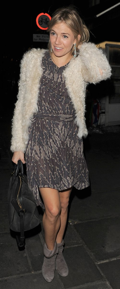 Sienna Miller StyleChi White Fur Jacket Patterned Dress Grey Suede Ankle Boots Black Bag