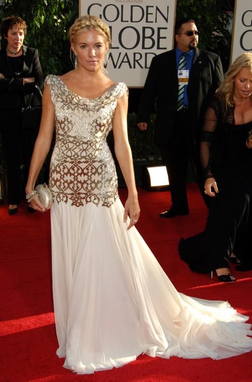 Sienna Miller StyleChi White Gold Drape Neck Embellished Gown Golden Globe Awards