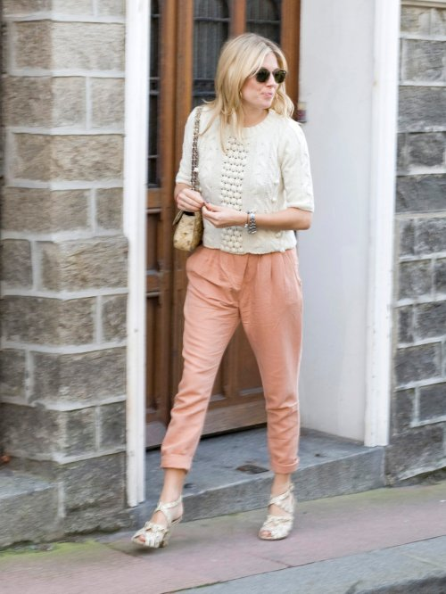 Sienna Miller StyleChi White Knit Salmon Pink Trousers Cream Cross Front Heels Retro Sunglasses
